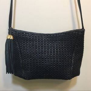 Vtg  Sharif Navy woven leather purse tassel fringe